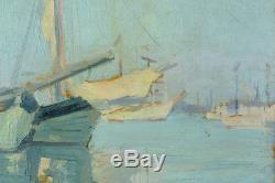 Beau tableau Ancien Vue de Bordeaux Renée Seilhean Bateaux au port Marine 1921