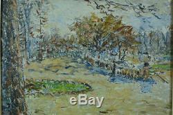 Beau tableau Impressionniste Paris Jardin du luxembourg 19e Dreyfus Lemaitre