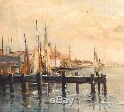 Beau tableau, Marine, peinture à l'huile sur toile signée et cadre bois doré