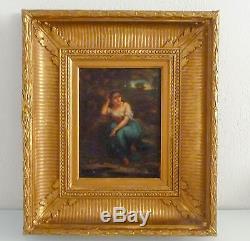 Beau tableau Romantique, peinture, huile/bois, cadre bois doré, milieu XIX ème