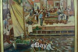 Beau tableau ancien Le marché aux Poissons Normandie Marine sv de saint-Delis