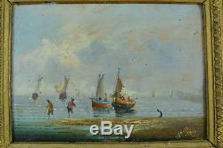 Beau tableau ancien Marine animée Bateaux au mouillage napoléon 3 cadre doré
