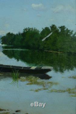 Beau tableau ancien Paysage Estival fontainebleau Barque Marne Bord de rivière