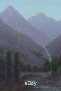Beau tableau ancien Vue des Pyrénées Luchon randonnée pont cascade montagne