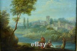 Beau tableau ancien hsb Francisque Millet Paysage arboré animé Moise Bible 17e