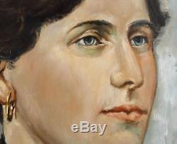 Beau tableau, peinture, huile sur bois, portrait de femme vers 1900. Encadré