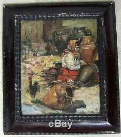 Bel Impressionniste Espagnol 1900. Femme Dans Un Artisanat De Jarre Andalouse