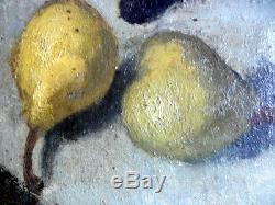 Belle Nature morte aux poires et pommes LAFON F