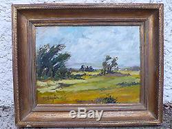 Belle Peinture Huile Sur Panneau Bois Paysage Signe Beau Cadre Dore