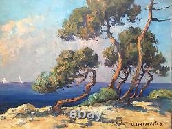 Belle Peinture Paysage 1950 mer pin Huile Sur Panneau Hsp Signé À identifier