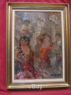 Belle huile signée MOREAUX les danseurs de flamenco