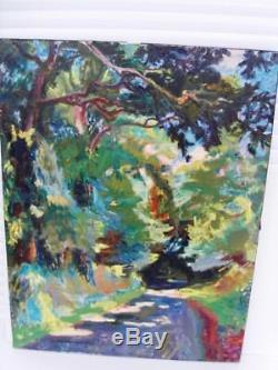 Berthomme St-andre Chemin En Sous-bois Tres Grande Huile Sur Toile -1950