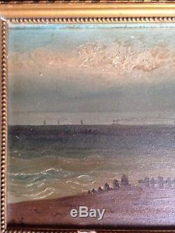 Bord de mer Marine Huile sur Bois XIXème Bateau Monogrammé