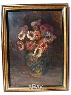 Bouquet d'anémones au vase chinois par Horace RICHEBÉ (1871 1964)