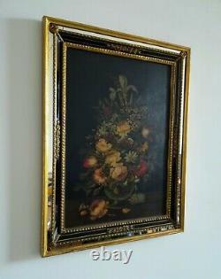 Bouquet de fleurs huile sur panneau bois dans le style 17ème cadre à parcloses