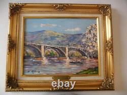 Bruno RETAUX Très belle huile Le pont au Anglais Rouen