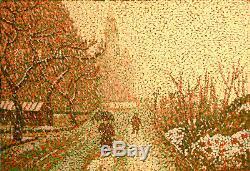 CORAL Lisa Huile sur bois Pointillisme 55 x 38