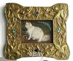 Cadre Ancien Art Deco Bois Et Laiton Peinture Huile Sur Toile Chat Blanc