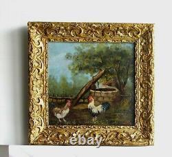 Cadre Ancien Bois Dore Peinture Huile Sur Bois Coq Et Poules