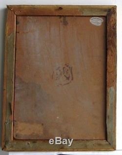 Cadre Ancien Bois Dore Peinture Huile Sur Carton Chat Blanc Dans Un Panier