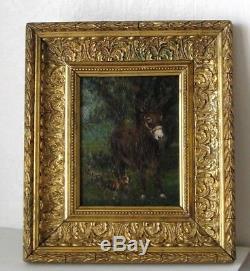 Cadre Ancien Bois Dore Peinture Huile Sur Toile Ane Et Chien