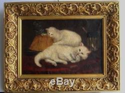 Cadre Ancien Bois Dore Peinture Huile Sur Toile Chats Blancs Gourmands