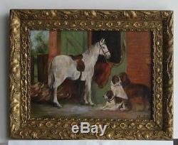 Cadre Ancien Bois Dore Peinture Huile Sur Toile Cheval Blanc Et Chiens