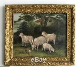 Cadre Ancien Bois Dore Peinture Huile Sur Toile Moutons Et Poule