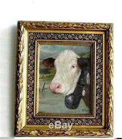 Cadre Ancien Bois Dore Peinture Huile Sur Toile Vache Blanche