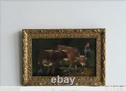 Cadre Ancien Bois Dore Peinture Huile Sur Toile Vaches Et Paysanne
