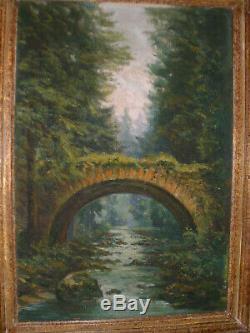 Cadre Montparnasse vintage bois sculpté & tableau huile sur toile Format 10P