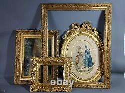 Cadre doré feuille d'or XIXe s. Superbe état 47x37 cm Huile sur toile offerte