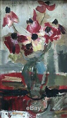 Camille Descossy Tableau Hst Peinture Bouquet De Fleurs 1967 Ceret