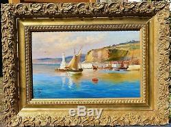 Cesare FERRI, paysage, mer, Nice, port, bateau, tableau, marine, Côte d'Azur