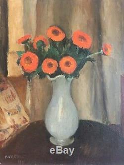 Charles KVAPIL (1884-1957) Bouquet de fleurs Huile sur panneau