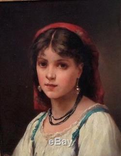 Charles SCHREIBER portrait femme, France Italie, Napolitaine, peinture, tableau