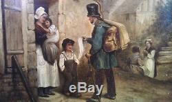 Charmant tableau fin XIX ème huile sur bois Marchand de tissus Vieux métier