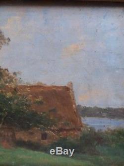 Chaumiere Au Bord De L'eau Barbizon Huile Bois -tableau Ancien Bizeaute 1880