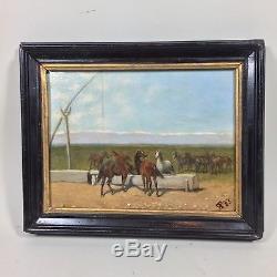 Chevaux en liberté, peinture sur bois, XIXéme