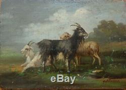 Chèvre mouton Peinture sur bois 19e siècle signée GUILLAUME