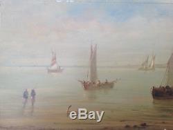 Constantin Nepo Tableau Hsp Peinture Marine Retour Des Pêcheurs Bord De Mer ++++