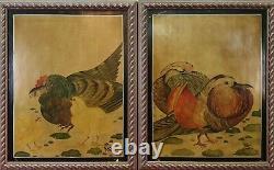Couple D'oiseaux. Huile Sur La Table. Signé Gülax. Style Chinois. XX Siecle