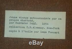 DALI Huile sur panneau d'un tableau de 1954 de Salvador DALI. Surréalisme DADA