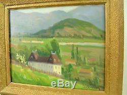DECHAVANNE TABLEAU VUE DE L'AIN BUGEY Ca 1940 H/P CADRE PAYSAGE X2 FACE ART DECO