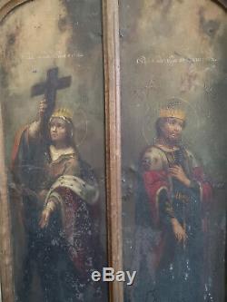DIPTYQUE RELIGIEUX HUILE SUR PANNEAU FIN XVIIIè EUROPE DE L'EST ORTHODOX ART
