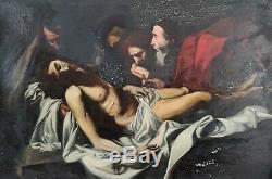 Descente De Jésus. Huile Sur Table. Anonyme. Xix-xx Siècle