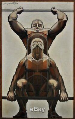 Deux haltérophiles, Jean Lamorlette (1923-2014), bodybuilding, weight lifting