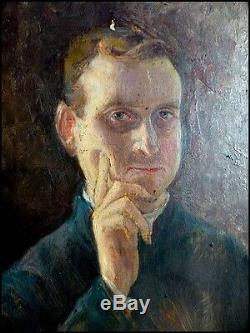 Doubles Portraits Moine Franciscain & Autoportrait du Peintre F. Pagnoti Italie