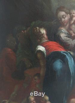 ECOLE FLAMANDE début XVIIè. La Récolte de la MANNE. CADRE XVIIIè. A expertiser