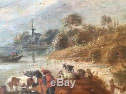 ECOLE HOLLANDAISE XVIIIe SIÈCLE, HUILE / BOIS, PAYSAGE ANIMÉ, INSCRIPTION AU DOS